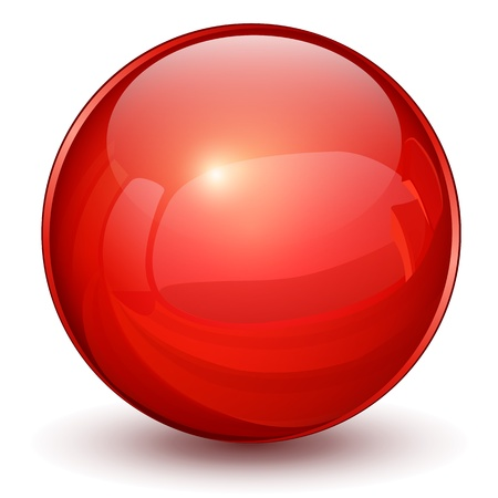 Glossy sphere 3D red Illustration