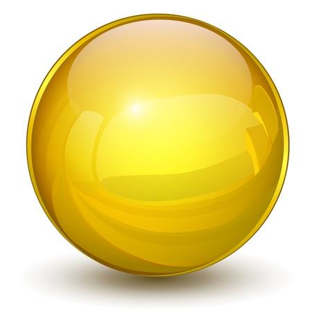 glass sphere: Glossy sphere 3D gold Illustration