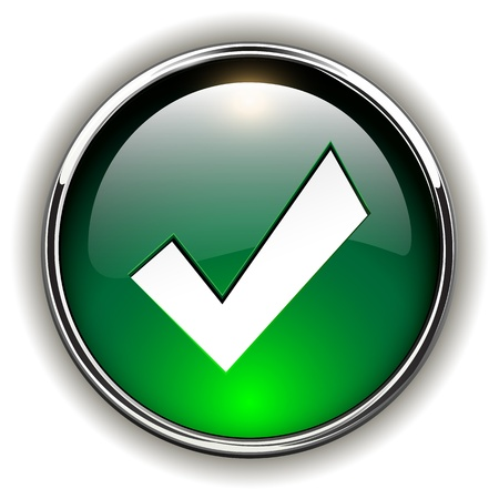 yes button: Accept green icon, button Illustration