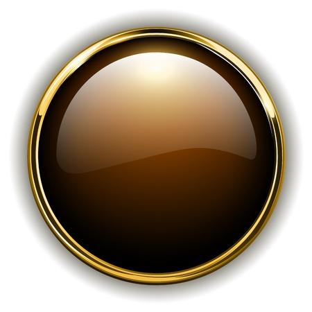 cromo: Oro bot�n brillante met�lico, ilustraci�n vectorial