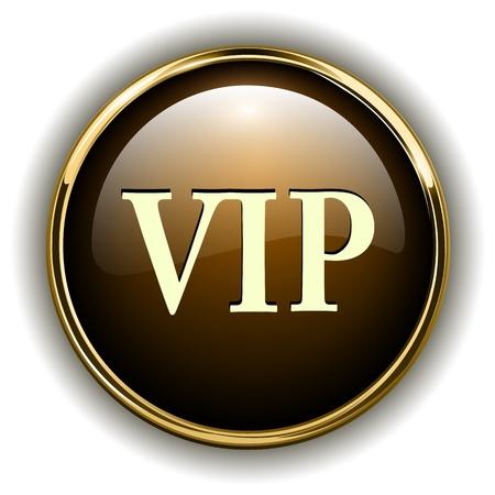vip symbol: VIP insignia de oro met�lico, ilustraci�n vectorial