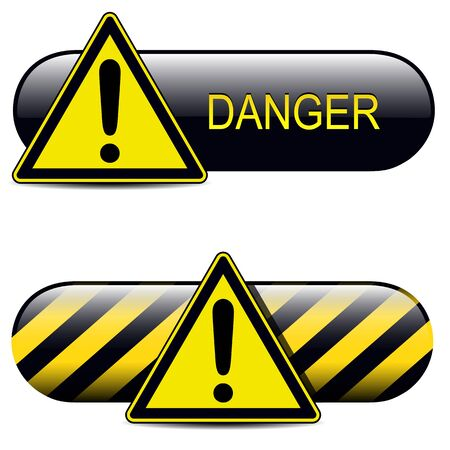 Exclamation danger buttons, icons design. Vector