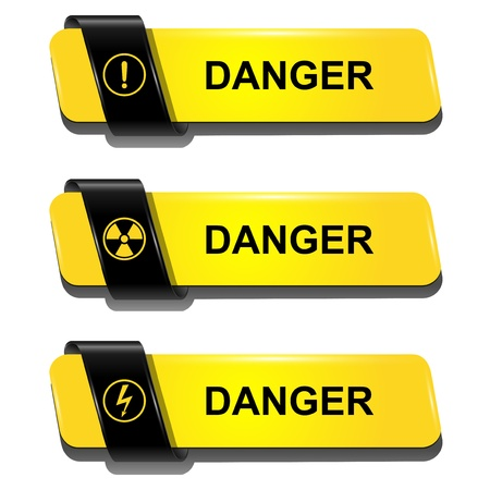 radiation protection: Danger buttons, signs vector set.