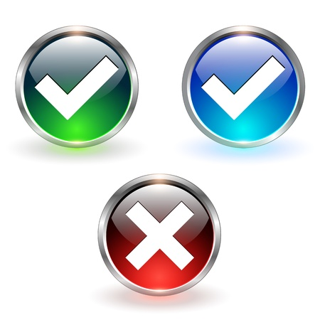 Accept and negate, yes no icons. Vector