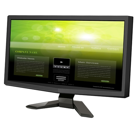 lcd tv monitor isolated with website on screen. Stock Photo - 19247839