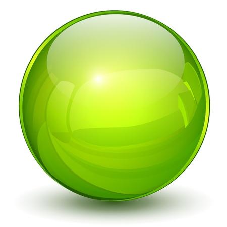 bouton brillant: Brillant sph�re 3D vert