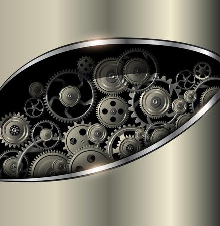 rackwheel: Technology background gold metallic with vector gears.