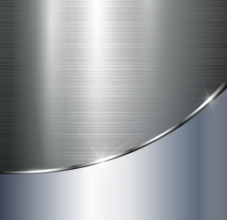 Metallic background polished steel texture, vector. Vetores