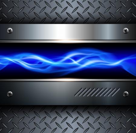 rayo electrico: Antecedentes de la tecnolog�a, 3D met�lico de acero, vector abstracto. Vectores