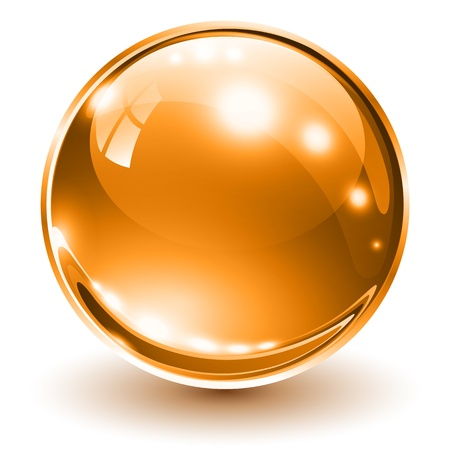 3D glass sphere orange, illustration. Vector