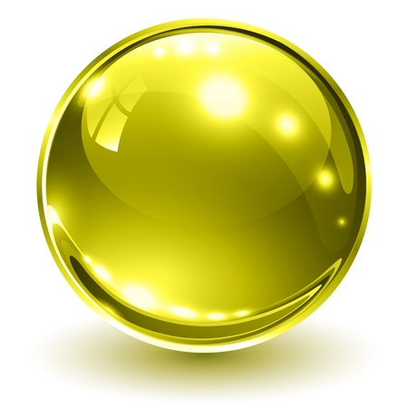 3D glass sphere gold, illustration. Illustration