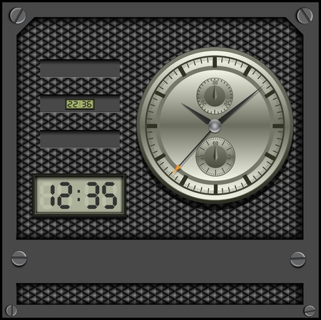 Watches and clocks on pattern background. Vector