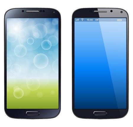 스마트 폰, 휴대 전화, 고립 된, 현실적인 그림입니다. 일러스트