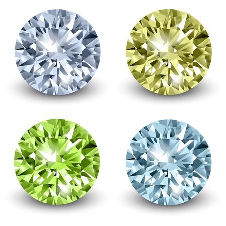 diamante: Diamanti, illustrazione realistico. Vettoriali