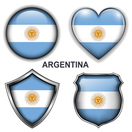 Argentina flag icons,  buttons Stock Vector - 20343996