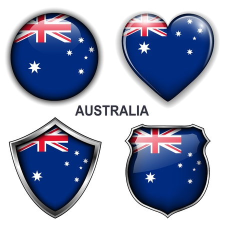 Australia flag icons,  buttons  Vector