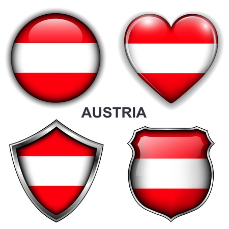 Austria flag icons, buttons  Stock Vector - 20343872
