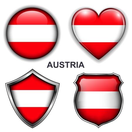 Austria flag icons, buttons Stock Vector - 20343872