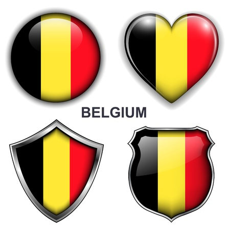 Belgium flag icons,  buttons Stock Vector - 20343838