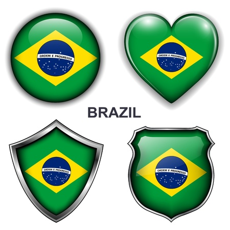 Brazil flag icons,  buttons Stock Vector - 20344017