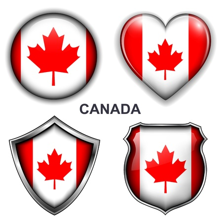 Canada flag icons,  buttons Stock Vector - 20343884