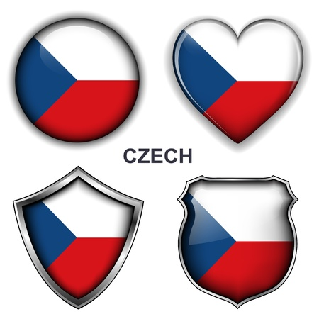 Czech Republic flag icons,  buttons  Stock Vector - 20343956