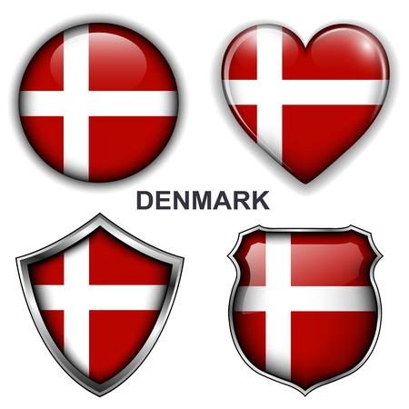 Denmark flag icons,  buttons  Vector