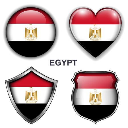 Egypt flag icons,  buttons  Vector