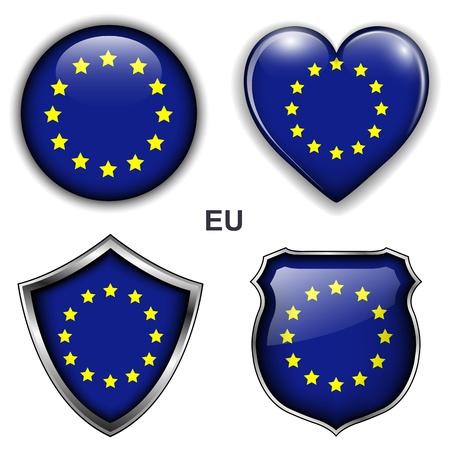 유럽: EU, 유럽 연합 국기 아이콘, 버튼