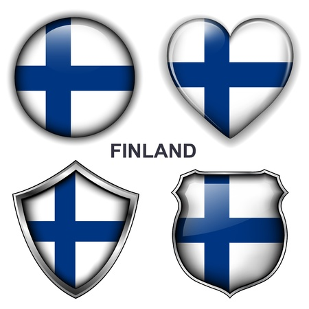 Finland flag icons,  buttons  Stock Vector - 20344004
