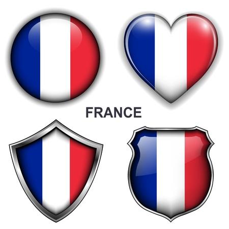 flag: Frankrijk vlag iconen, knoppen