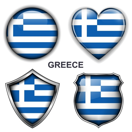 Greece flag icons,  buttons  Stock Vector - 20343983