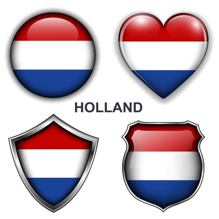 Holland flag icons,  buttons  Vector