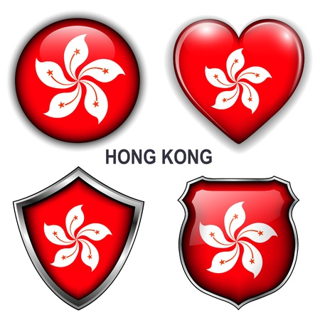 Hong Kong flag icons,  buttons Stock Vector - 20343913