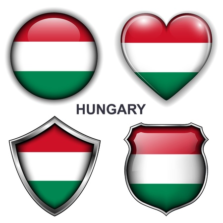 Hungary flag icons,  buttons  Stock Vector - 20343955