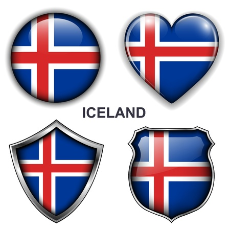 iceland flag: Iceland flag icons,  buttons  Illustration