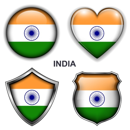 India flag icons,  buttons  Vector