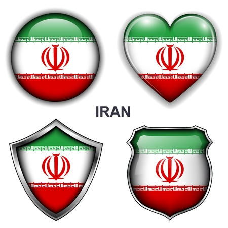 Iran flag icons, buttons  Stock Vector - 20343995