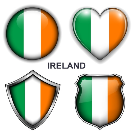 irish banners: Ireland flag icons,  buttons