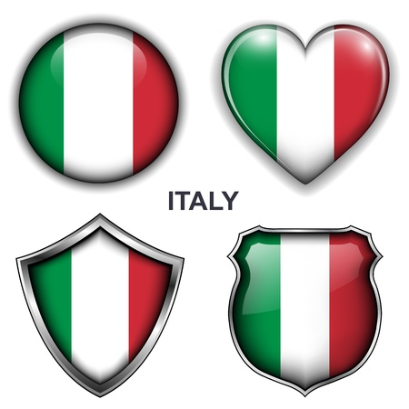 Italy flag icons,  buttons Stock Vector - 20343945