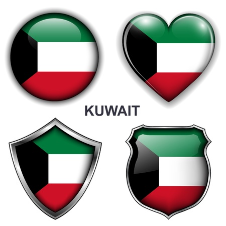 Kuwait flag icons, buttons  Vector