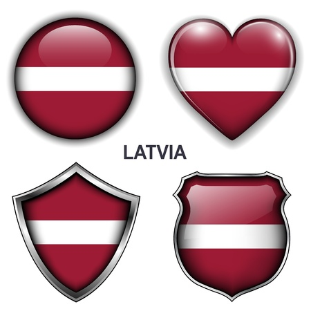Latvia flag icons, buttons Stock Vector - 20343975