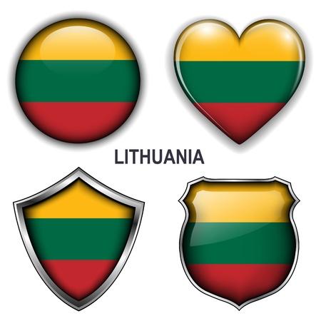 lithuania flag: Lithuania flag icons,  buttons.