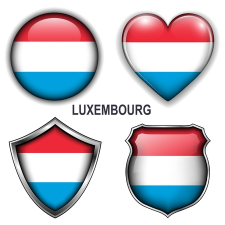 Luxembourg flag icons,  buttons.  Vector