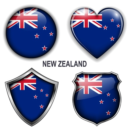 New Zealand flag icons,  buttons.  Vector