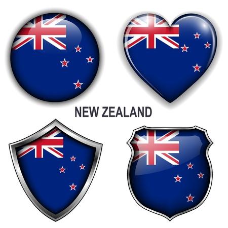 new zealand flag: Nuova Zelanda bandiera icone, pulsanti. Vettoriali