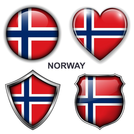 Norway flag icons,  buttons.  Vector