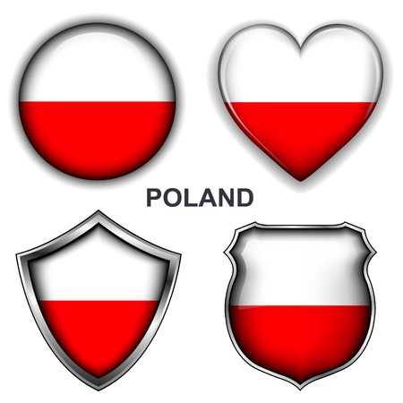 Poland flag icons, buttons  Vector