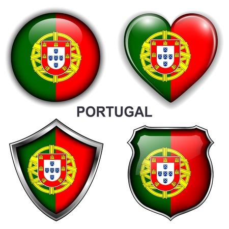 Portugal flag icons, buttons  Vector