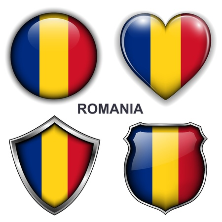 romania flag: Romania flag icons,  buttons